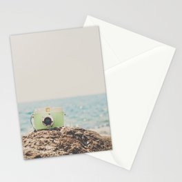 """the """"dreamer"""", a mint green camera with the ocean behind it Stationery Cards"""