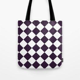 Large Diamonds - White and Dark Purple Tote Bag