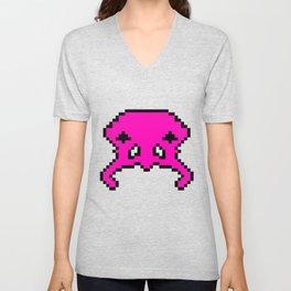 Pixel Invader : Pink Unisex V-Neck
