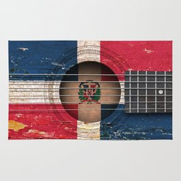 Old Vintage Acoustic Guitar with Dominican Flag Rug