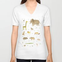 african V-neck T-shirts featuring African Animals by Sophie Corrigan