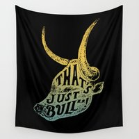 bull Wall Tapestries featuring Just Bull by Norman Duenas