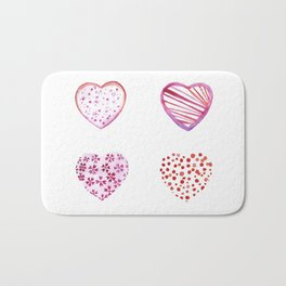 Watercolor Pink Hearts Bath Mat