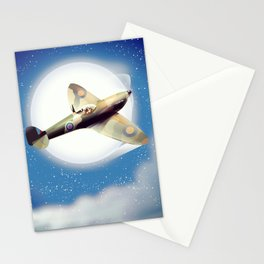 Spitfire at night Stationery Cards
