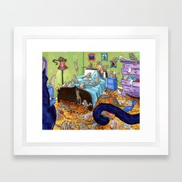Cats Can Be a Slippery Slope... Framed Art Print