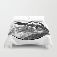 planes Duvet Covers featuring paper planes by Rzuud