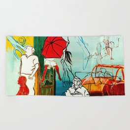 Composition Painting - Umbrella girl with woman Beach Towel