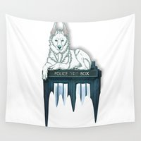 bad wolf Wall Tapestries featuring BAD WOLF by Emma Lindkvist