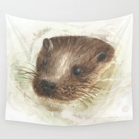otter Wall Tapestries featuring Swimming Otter by Lauren Victoria Reeves