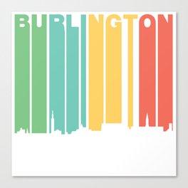 Retro 1970's Style Burlington Vermont Skyline Canvas Print