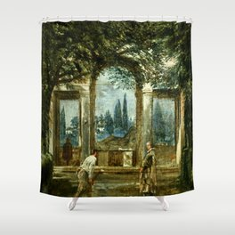 "Diego Velázquez ""View of the Garden of the Villa Medici in Rome (The Sleeping Ariadne)"" Shower Curtain"