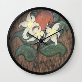 Florida Citrus Farmhouse Orange Blossom Wall Clock