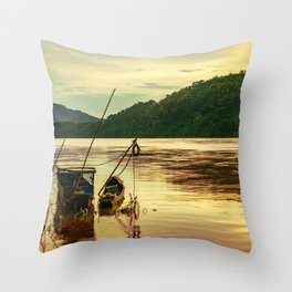 Sunset over the Mekong River Throw Pillow