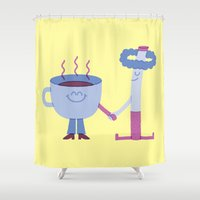 cigarette Shower Curtains featuring SBF: Coffee & Cigarette by Mauro Gatti