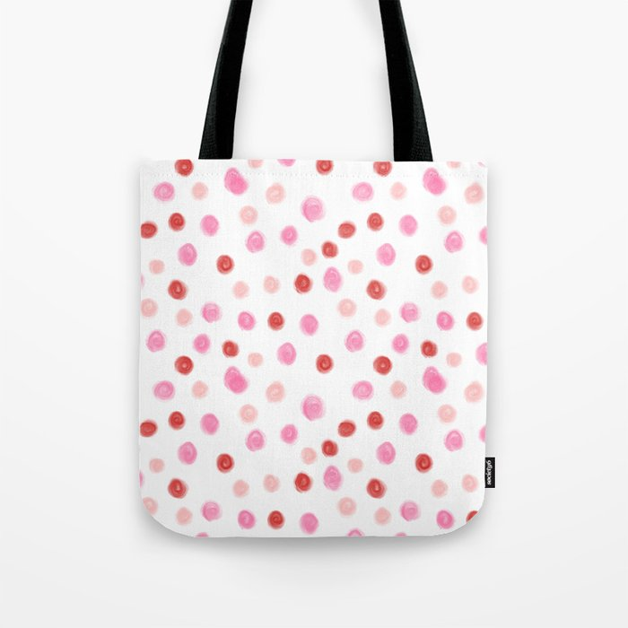 7c849a54e Dots pointed polka dot pattern red pink pastel painterly dot Tote Bag by  charlottewinter | Society6