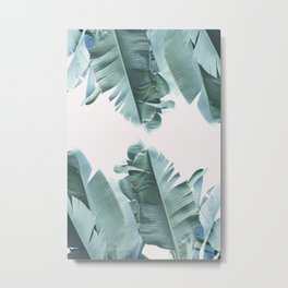 Blue Tropical Banana Leaf Plant Metal Print