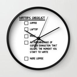 Writer's Checklist Wall Clock