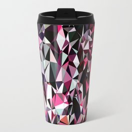 geometric triangle polygon pattern abstract in red pink black Travel Mug
