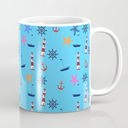 Nautical Beach Pattern Coffee Mug