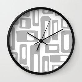 Retro Mid Century Modern Abstract Pattern 336 Gray Wall Clock
