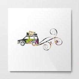 Cute Car Fabric art Metal Print
