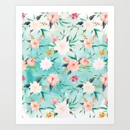 Turquoise Pink Watercolor Flower Pattern Art Print