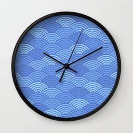 Japanese Neck Gator Blue Japanese Pattern Wall Clock