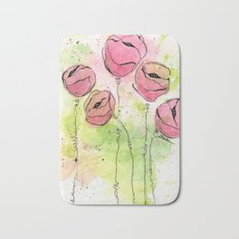 Pink and Green Splotch Flowers Bath Mat