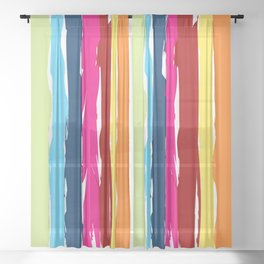 Multicolor stripes background Sheer Curtain