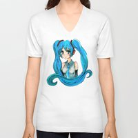 vocaloid V-neck T-shirts featuring Hatsune Miku by Tiffany Willis