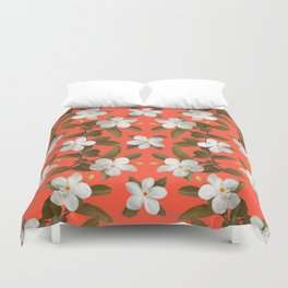 White Angel Flowers in Tangerine Duvet Cover