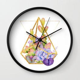 Succulent Geometry gold wire geometric frames Wall Clock