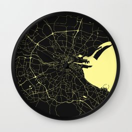 Dublin Street Map Black and Yellow Wall Clock