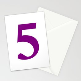 5 (PURPLE & WHITE NUMBERS) Stationery Cards