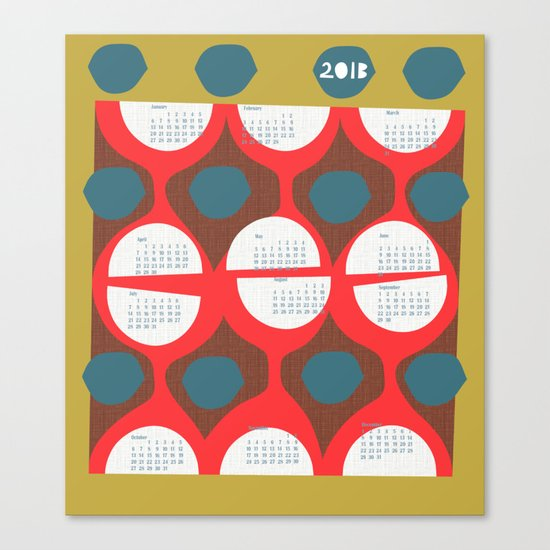 2013 retro calendar Canvas Print