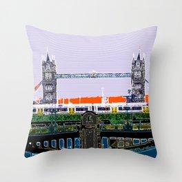London Tower bridge & tube pop artwok, England photogrphy, mind the gap Throw Pillow