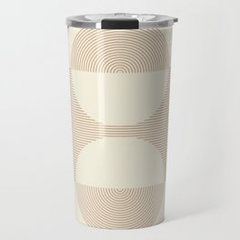 Geometric lines in Shades of Coffee and Latte 2 Color Theme Travel Mug
