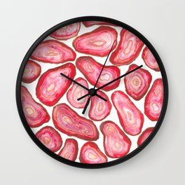 Cluster of Red Agate Slices in Watercolor Wall Clock