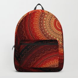 Red Golden Bohemian Mandala Backpack