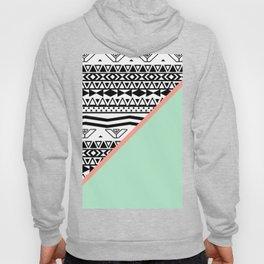 Block | Black White Aztec Pattern Mint Green Color Block Hoody