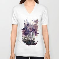 milan V-neck T-shirts featuring street milan by Gabriele Omar Lakhal