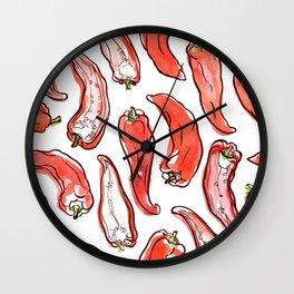 Cute hand drawn pattern with paprika Wall Clock
