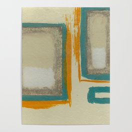 Soft And Bold Rothko Inspired - Corbin Henry Modern Art - Teal Blue Orange Beige Poster