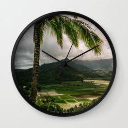 Hanalei Valley Lookout Kauai Hawaii | Tropical Island Nature Coastal Travel Photography Print Wall Clock