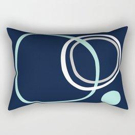 Nautical Modern Contemporary Circles Navy, Aqua, Grey Rectangular Pillow