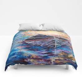 Wooden Boat at Sunrise - original oil painting with palette knife #society6 #decor #boat Comforters