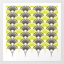 brown and lime art deco inspired fan pattern by vrijformaat