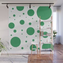Kelly Green and White Bubbles Wall Mural