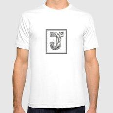 Zentangle J Monogram Alphabet Illustration MEDIUM White Mens Fitted Tee
