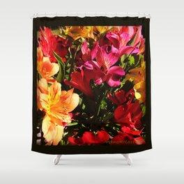Summer Rainbow of Flower Blossoms Shower Curtain